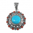 silver turquoise pendant NP7704/STQ ~ FREE SHIPPING ~