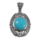 silver turquoise pendant NP7955/STQ ~ FREE SHIPPING ~