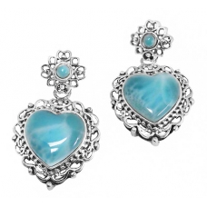 Larimar Silver Earrings 2224 ~ FREE SHIPPING ~