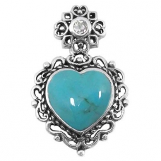 silver turquoise pendant NP7884/STQ ~ FREE SHIPPING ~
